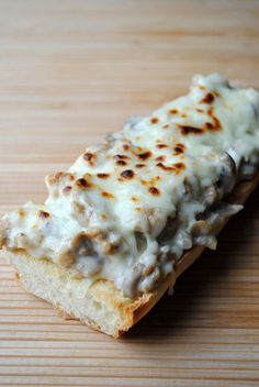 Sausage Alfredo French Bread Pizza ---So good!! Next time I will add some Italian seasoning. Also can sub the alfredo and make it with red sauce.