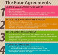 Four Agreements for Self Care (based on the book The Four Agreements - everyone should read it!)