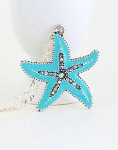 Starfish Necklace,Starfish Pendant, Sterling Silver, Silver Blue Starfish, Beach, Ocean