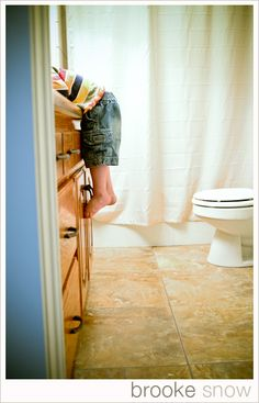 I wish I would've gotten a shot like this when the girls were too small to reach the sink... This was a very common sight in our home for about a year