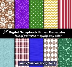 free digital scrapbook paper generator- I use this to create customizable printable backgrounds for different projects- so exciting!