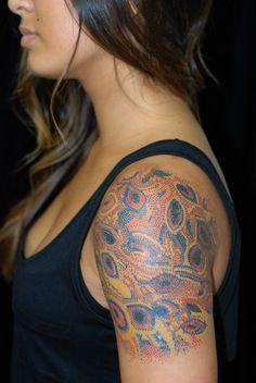 Aboriginal dots. Bryan Kachel, Cicada Tattoo, Seattle.