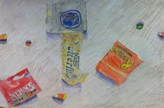 8th grade drawing/package design project-drawing candy