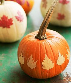No-carve Halloween pumpkin ideas: This Decoupage leaf pumpkin how-to is fun and easy for kids, no matter how they turn out.