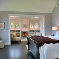 small sitting nook in the master bedroom