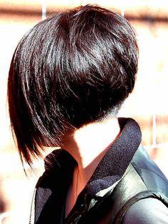Undercut angled bob. Short hairstyle.