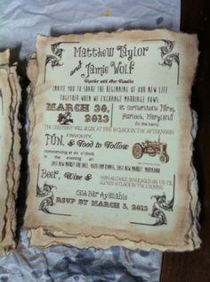 Handmade Vintage/Rustic invite