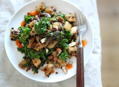 Meatless Mondays with Martha Stewart – Crusted Jerusalem Artichokes with Beluga Lentils, Kale, and Harissa | My New Roots