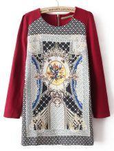 #SheInside  Red Long Sleeve Floral Back Zipper Dress