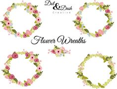 Peony Wreaths Boarder Frames Digital Clip by DotandDashCreative, $6.00 engag parti, frame, floral design, peoni wreath, clip art, fabric design, dot, wreaths, peonies