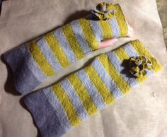 Felt mustard yellow gray  grey armwarmer Merino  with two felted flowers as decoration. Upcycled wool sweater by mcleodhandcraftgifts,