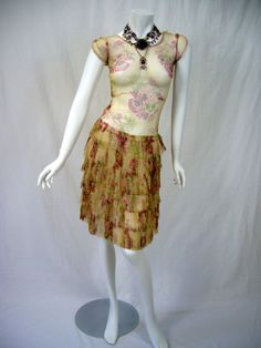 GORGEOUS Lavishly Painted Floral Ivory Tulle 1920s by Poshporscha, $249.00