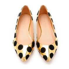 gold mirrored leather & suede polka dot flats