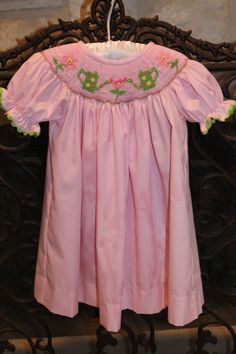 Smocked watering cans and flowers bishop dress