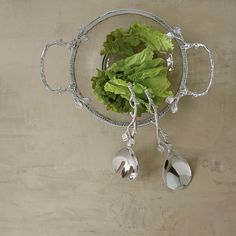 Nickel-Plated Branch Salad Servers | The Company Store