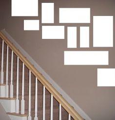 idea how to arrange pictures in stairway