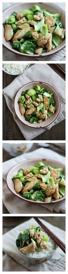 Bok Choy Chicken Recipe. Easy and healthy stir-fry with 3 basic ingredients only. So YUMMY and takes only 15 minutes to make | http://rasamalaysia.com