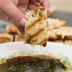 Grilled Bread with Rosemary Dipping Oil - Tastes Lovely