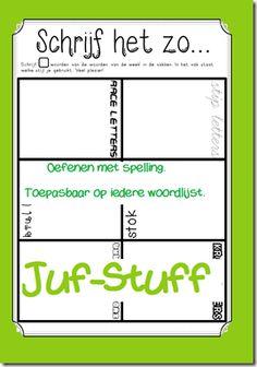 Juf-Stuff: Schrijf het zo... werkblad om 'woorden van de week' te oefenen.