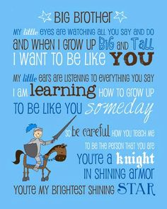 Big Brother Poem Saying Quote with Knight Instant Download Printable JPEG Digital File 8x10 / 16x20
