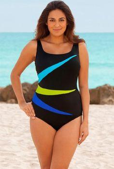 Longitude Blue Fan Club Plus Size Tank Swimsuit Plus Size Swimsuit - List price: $99.00 Price: $59.00 Saving: $40.00 (40%)