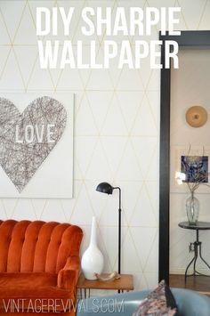 DIY Sharpie Wallpaper #Tutorial #DIY