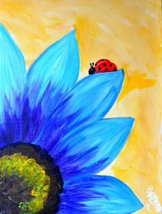 lady bug art, lady bug canvas, blue flowers, sunflower painting canvas, acrylic painting ideas, ladi bug, canvas ideas painting, corks and canvas, sunflower canvas painting