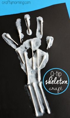 "Easy Q-Tip Handprint Skeleton Craft <a class=""pintag"" href=""/explore/Halloween/"" title=""#Halloween explore Pinterest"">#Halloween</a> craft for kids to make 