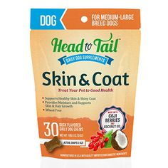 Help boost skin and coat health, try a supplement like Skin & Coat for Dogs from Head to Tail Daily Pet Supplements.