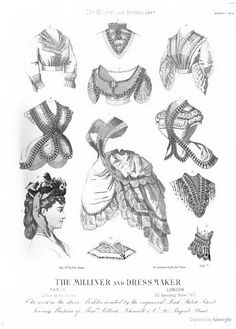 August 1870, The Milliner and Dressmaker - notice the overskirt with bretelles attached