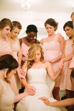 #prayer #bridesmaids   Photography: Jessica Crews Photography - jessica-crews.com Read More: http://www.stylemepretty.com/mid-atlantic-weddings/2014/05/01/pastel-southern-vineyard-wedding/