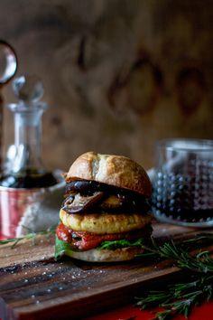 Potato hamburger with home-made ketchup .