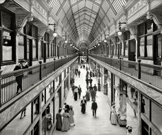 Colonial Arcade in Cleveland, circa 1908. I'm a sucker for great lines like this. On the right of the photograph is a corset shop that probably wasn't in business for very many more years.