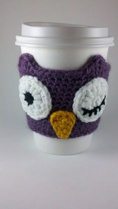 Crochet Dusty Purple Owl Cup Sleeve Cozy