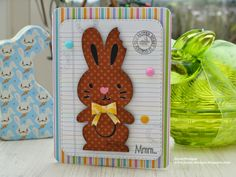 """JayneDesigns Create a Critter 2 at 3.5"""" for the chocolate bunny scalloped circle punch to his ear for the 'bite' mark  The stitched journal die is by lawn fawn. DP Doodlebug - Hello Spring"""