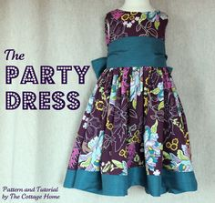 """Party Dress - Printable Pattern(s) and Tutorial (size 18-month through size 5 !!) =""""perfect outfit for any special occasion - it's a birthday dress, a holiday dress ...modern flower girl dress."""" >Fantastic Tutorial with super photos + individual pattern pieces for each size! >sash is optional >fabric covered buttons on the back are great but could be replaced with lapped zipper or Velcro as the fabric loops overlap the dress. >shorten for a cute summer dress"""