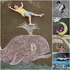 Cute idea! Chalk Drawing Photos Giggleberry Creations!: