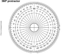 360º Protractor. Print on a transparent sheet, put a small hole in ...