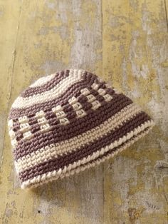 Crochet~ Neutral Easy Stripes Hat -   Free Pattern