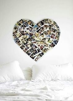 Cute teenage girl room ideas Photo collage, photography, poloroids, white bedding, cozy, comfy Rachel Thompson
