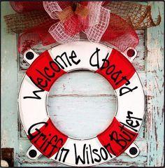 Summer Door Hanger Nautical Door Hanger Life by BluePickleDesigns, $45.00