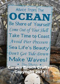 Beach+Decor+Sign++Beach+House++Advice+From+by+CarovaBeachCrafts,+$40.00