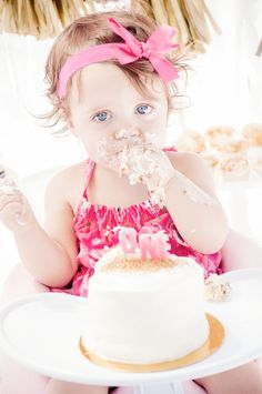 Inspired by This Pink and Gold First Birthday Celebration   Inspired by This Blog - love the cute simple cake