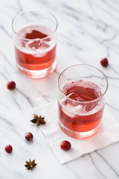 Spiced Cranberry Spritzer Cocktail with cranberry juice simmered with spices and spiked with Prosecco
