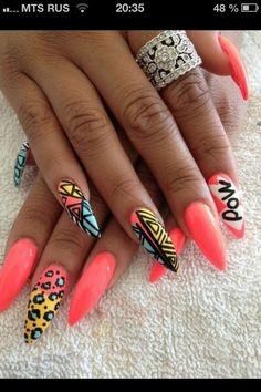 Beautiful pointy nails, nail art.