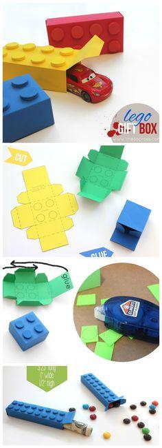 Boite cadeau forme LEGO - Anniversaire enfant thème LEGO - DIY
