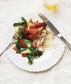 Slow-Cooker Soy-Glazed Chicken With Stir-Fried Vegetables | Get the recipe: http://www.realsimple.com/food-recipes/browse-all-recipes/soy-glazed-chicken-stir-fried-vegetables-00100000074155