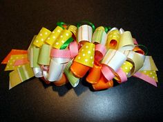 Loopy Bow - also called Bubble Bow -thin floral wire to attaches loops to the barrette.