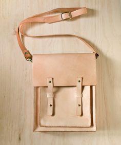 Nude Color Handmade vegetable tanned genuine leather satchel messenger bag