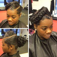 Braided Bun shared by Jazz TheHairstylist - http://www.blackhairinformation.com/community/hairstyle-gallery/relaxed-hairstyles/braided-bun-shared-jazz-thehairstylist/ #braidedbuns #braids #buns #babyhairs